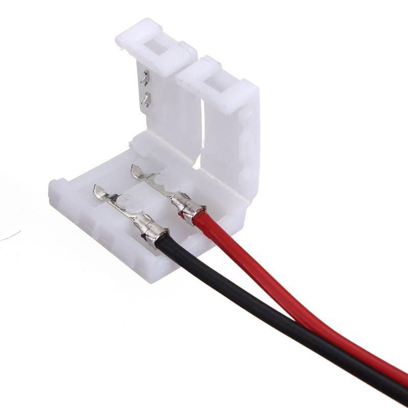 Lighting Accessories Wire With 2 Pin Connector Adapter At 1 End For 10mm 3528 5050 Single Color LED Strip Light Solderless