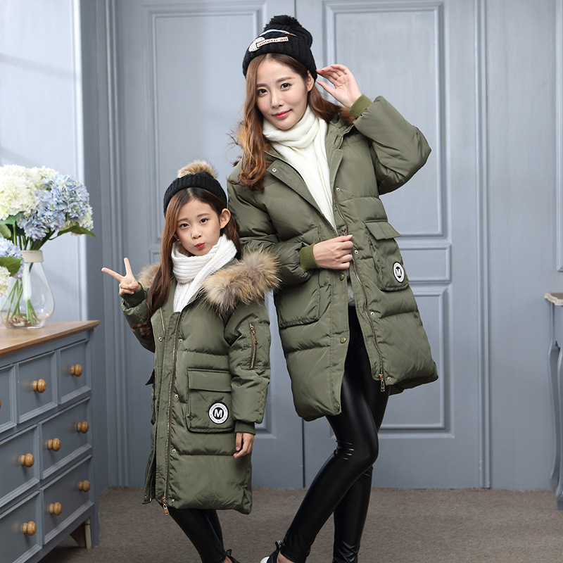 ФОТО Children New Winter Down Jacket Thickened Girls Korean Style Fashion Winter Warm Clothes Outerwear Girls Mother Down Coat V-0315