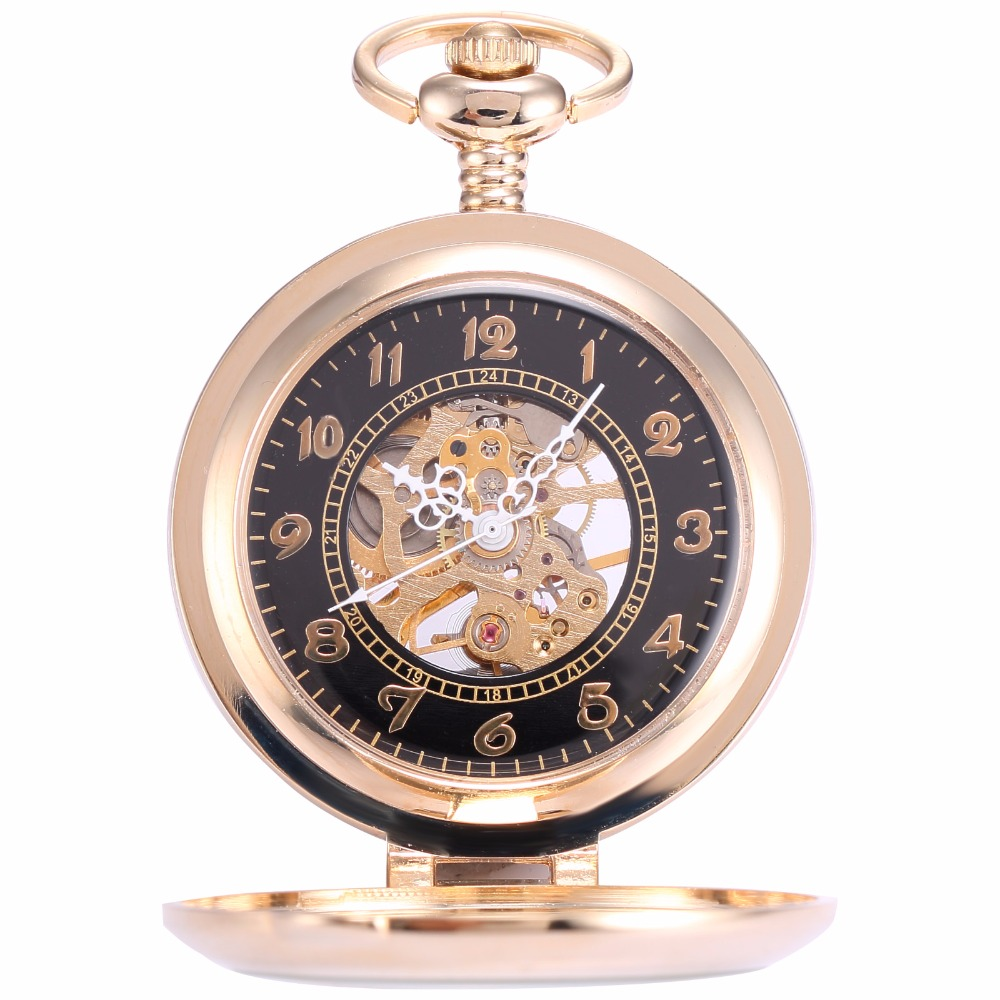 Classic Retro Elegant Golden Black Hollow Skeleton Mechanical Hand Winding Analog Men Fobs Chain Pendant Pocket Watch / WPK022 цена и фото