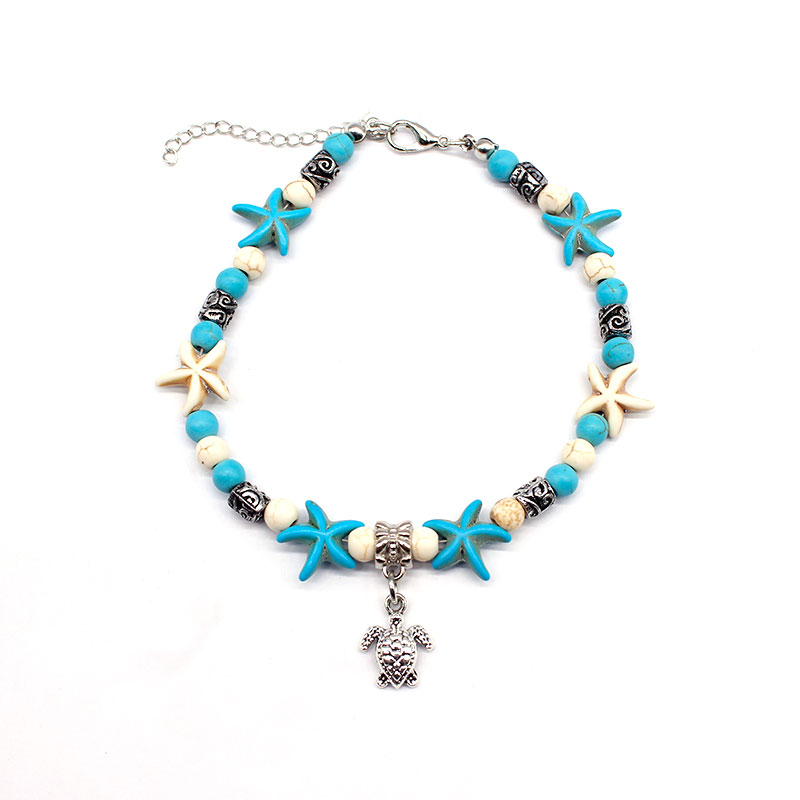 Bohemian Foot Jewelry Beaded Chain Starfish Turtle Pendant Anklets Summer Beach Silver Anklet Bracelet for Women