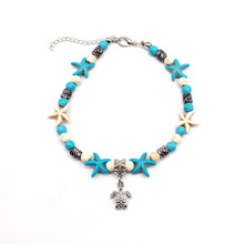 Bohemian Foot Jewelry Beaded Chain Starfish Turtle Pendant Anklets Summer Beach Silver Anklet Bracelet for Women стоимость