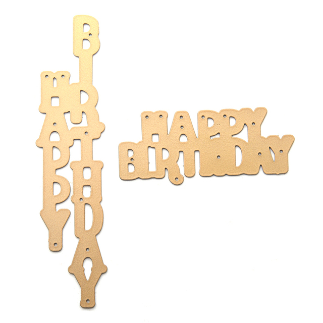 2pcsset happy birthday letter metal cutting dies for scrapbooking embossing folder diy craft paper