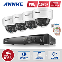 ANNKE 8CH HD 2MP 1080P NVR PoE IP Network ROI Outdoor Security Camera System 1TB