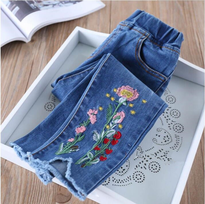 29e6f4f9f Y32072742 2018 Autumn Baby Pants For Girl Jeans Embroidery Flower Tassel  Toddler Girl Pants Denim Fashion Girls Clothes Lolita-in Jeans from Mother  & Kids ...