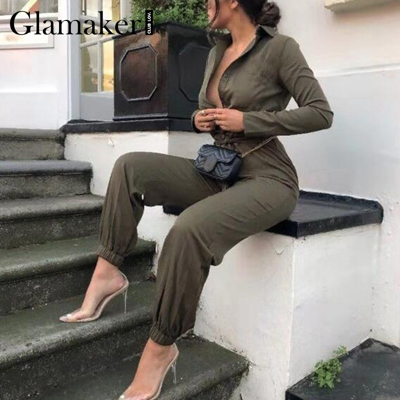Glamaker Sexy long sleeve yellow jumpsuit Women summer belt bodycon jumpsuit rompers Female elegant party overalls jump suit