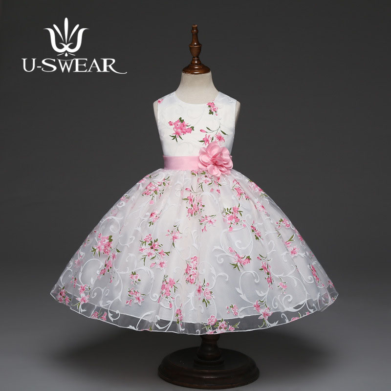 U-SWEAR 2019 New Arrival Kid   Flower     Girl     Dresses   O-neck Sleeveless Flora Print   Flower   Appliqued Ball Gown Chiffon Pageant   Dress
