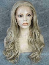 Charming Ash Blonde Natural Wavy Synthetic Lace Front Wig Haifa Wehbe Wig Free Shipping