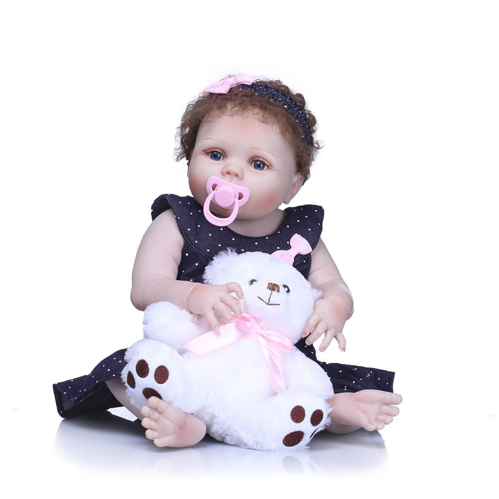 56CM Lifelike Simulated Company Reborn Female Baby Doll Childrens Gift With Bear Doll And Dress Reborn Baby Doll56CM Lifelike Simulated Company Reborn Female Baby Doll Childrens Gift With Bear Doll And Dress Reborn Baby Doll