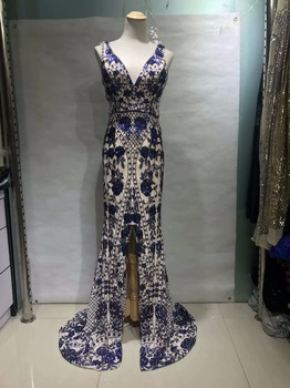 African mesh lace high-end fabric Nigeria best lace sequin blue chiffon fabric French fashion for all kinds of party wear