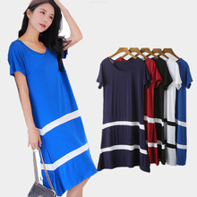 Modal Big Swing Dress Female New Loose A-Dress Cool O-neck Cotton Casual Striped Women Dresses Plus Size Work Summer 167