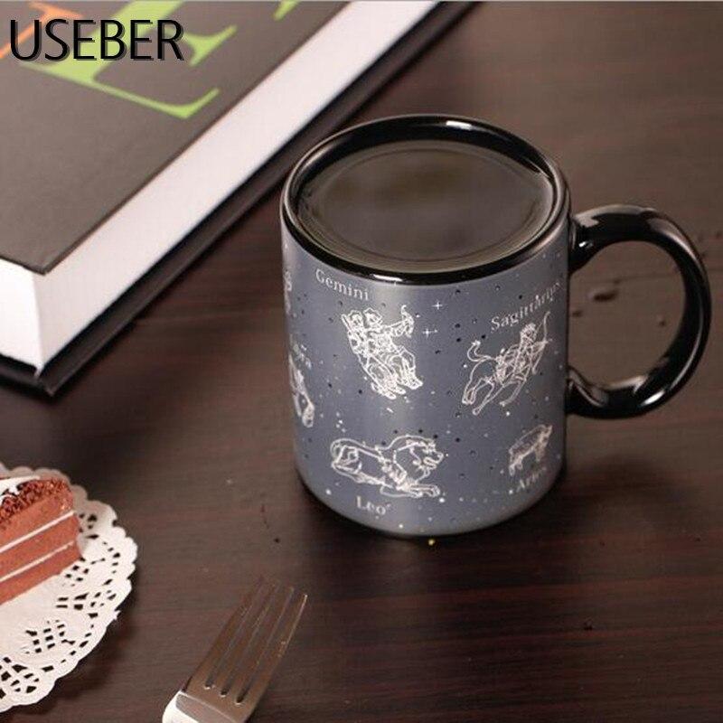 USEBER Ceramic Constellation Change Color Mugs Cool Heat Sensitive Color Changing Mugs Sublimation Coffee Tea Change Color