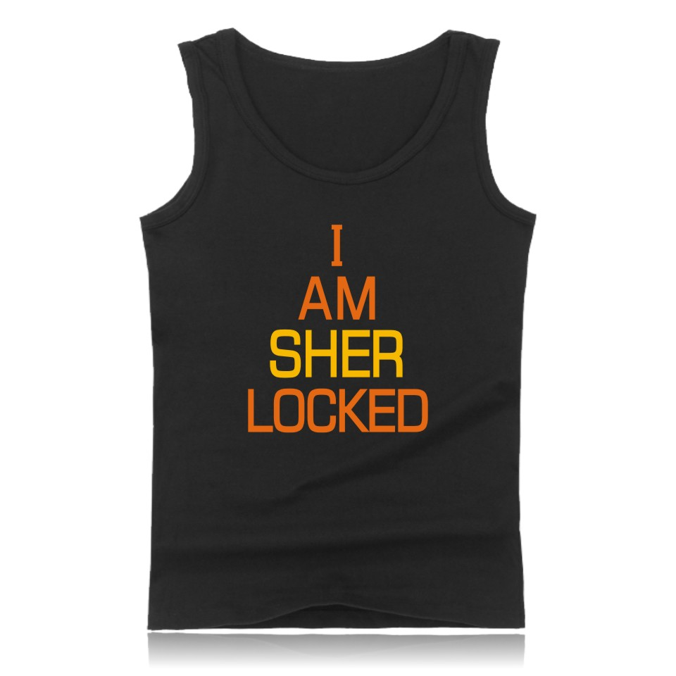 BBC TV Series Sherlock Cotton   Tank     Top   Summer West And Plus Size I Am Sher Locked Mens Print Bodybuilding   Tank     Tops   Quickly Dry