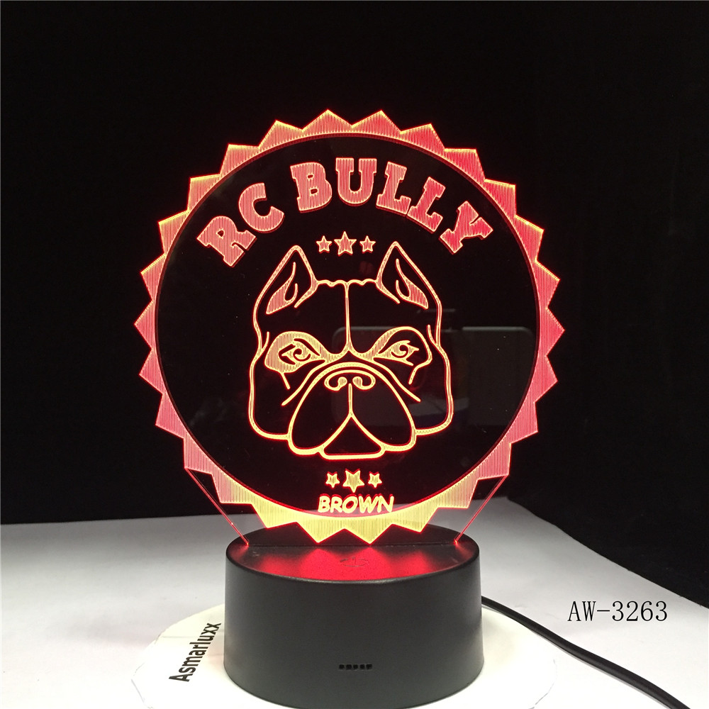 Pug French Bulldog 3D LED Night Light Pet Puppy Dog Lighting Home Decor Color Changing Table Lamp Dropshipping AW-3263