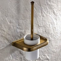 Vintage Retro Antique Brass Wall Mounted Toilet Brush Holder Set White Brush Ceramic Cup Bathroom Accessory