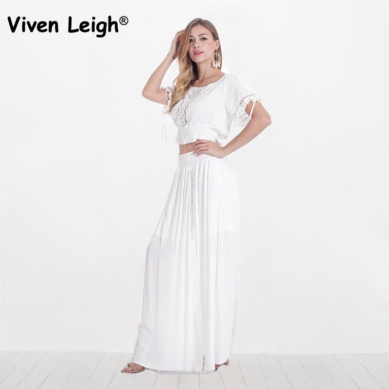 5c19d587f6 2018 Designer White Lace Boho Maxi Skirt + Slash Neck Crop Top Women's Set  Sexy Off Shoulder Hollow Out Cotton Dress 2 Piece Set