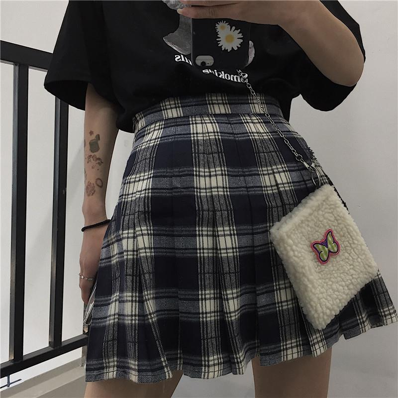 Harajuku Plaid Skirt Women Retro High Waist Pleated Mini Skirts New Fashion Streetwear Grunge Style Casual Summer Skirts Female