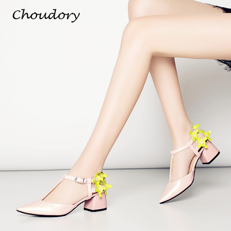 Choudory Office Lady Chunky High Heels Woman Pumps Spring Autumn Colorful Pointed Toe Zapatos Mujer Tacon Fashion Woman Shoes  choudory high heels woman pumps spring autumn flower decoration woman shoes attractive flock pointed toe party zapatos mujer