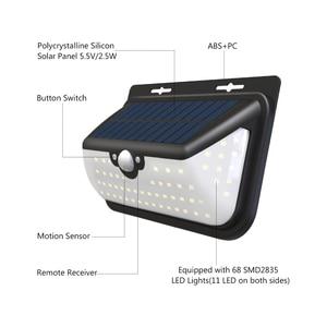 Image 4 - Luces solares LED SEASENXI 68 LEDs tres modos de funcionamiento lámparas de iluminación de jardín al aire libre luces de energía Solar de valla de pared