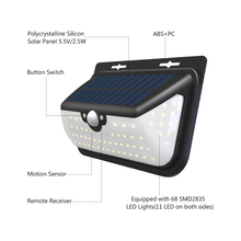 Solar Lamps 68 LEDs Three Working Modes Functional Outdoor Garden Lignting Lamps Wall Yard Fence Solar Power Lights