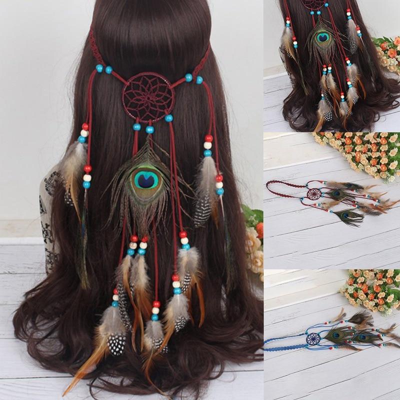 2018 Bohemian Hippie Women Headband Dream Catcher Feather Headdress Fashion Indian Peacock Feather Headbands Hair Accessories