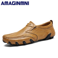 AMAGINMNI Brand Mens Casual Shoes Stylish And Comfortable Men Loafers Wear Resistant Driving Shoes High Quality