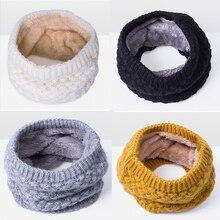 Зимний шарф для женщин, детей, малышей, теплый Хлопковый вязаный шарф для шеи, шарф для катания на лыжах