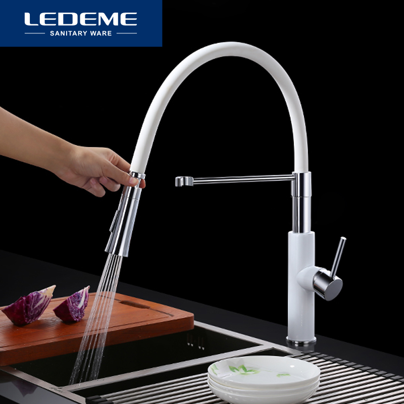 LEDEME Kitchen Faucet Water Taps Rubber Tube Mixer Torneira Kitchen Sink Faucet Mixer Crane Taps Brass Mixer Taps L4097
