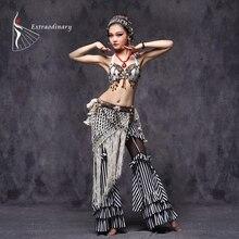 Trajes de danza del vientre Tribal Vintage sujetador con diseño de monedas borla cinturón Pantalones mujer Tribal Top ropa 3 uds conjunto Sexy bordado gitano