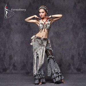 Image 1 - Tribal Oryantal Dans Kostümleri Vintage Paraları Sütyen Püskül Kemer Pantolon Kadın Tribal Top Giysileri 3 adet Set Kıyafet Seksi Işlemeli çingene