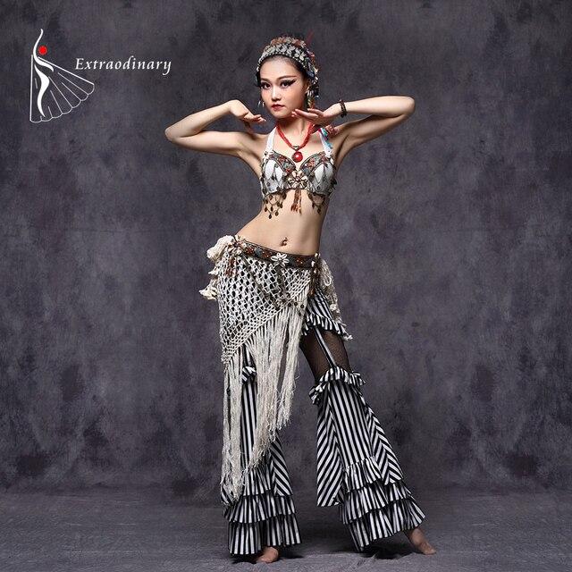 Tribal Oryantal Dans Kostümleri Vintage Paraları Sütyen Püskül Kemer Pantolon Kadın Tribal Top Giysileri 3 adet Set Kıyafet Seksi Işlemeli çingene