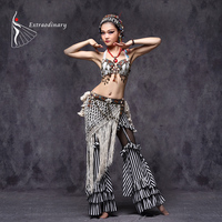 Tribal Belly Dance Costumes Vintage Coins Bra Tassel Belt Pants Women Tribal Top Clothes 3pcs Set Outfit Sexy Embroid Gypsy