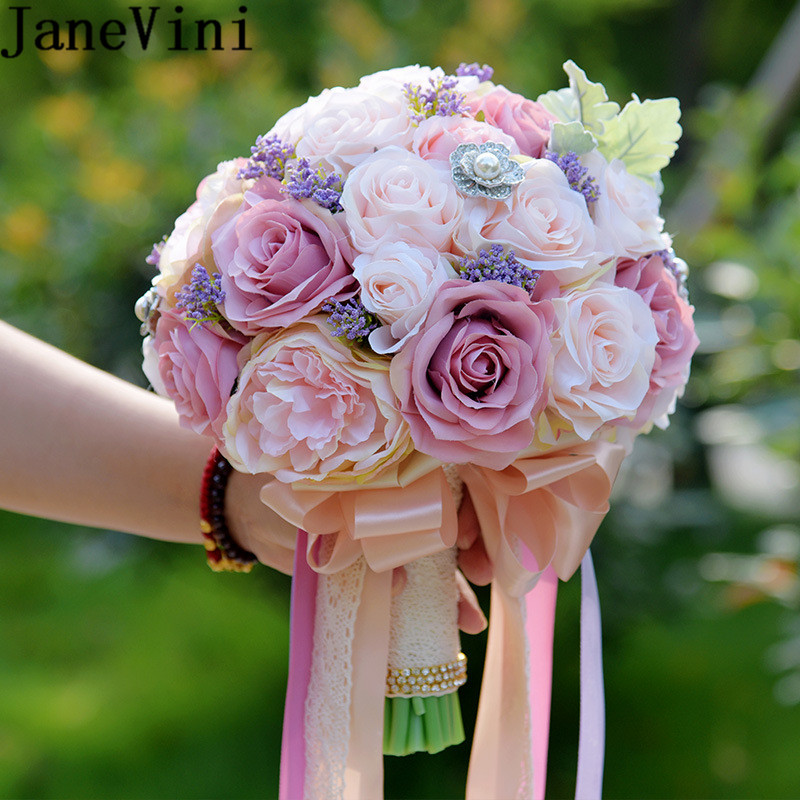 JaneVini Vintage Pink Crystal Wedding Bouquets Silk Rose Artificial Bride Flowers Pearl Beaded Bridal Bouquet bienvenida boda