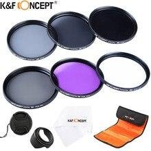 K&F CONCEPT 52/58/62/67/72 / 77mm UV CPL FLD ND2 ND4 ND8 Комплект Фильтров для объектива 6 Кусков с 4 подарками для Nikon Canon Sony Tamron и более зеркального фотоаппарата и объектива