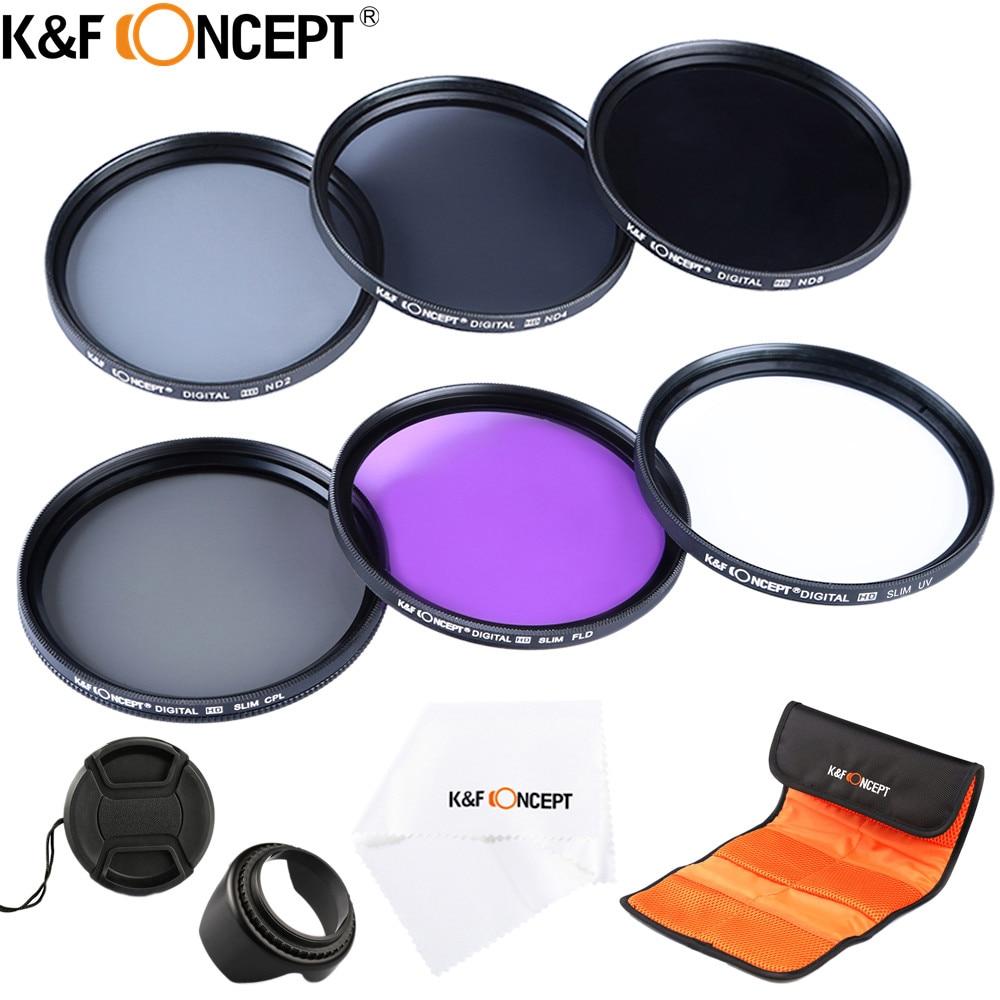 K & F CONCETTO 52/58/62/67/72/77mm UV CPL FLD ND2 ND4 ND8 6 PZ Lens filtri Kit con 4 Regali Per Nikon Canon Sony Tamron e più