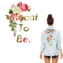 Flower Letter Patches for Top DIY Accessory Washable Women's Clothes Tote Patch Appliques Parches Iron-on Heat Transfer Stickers