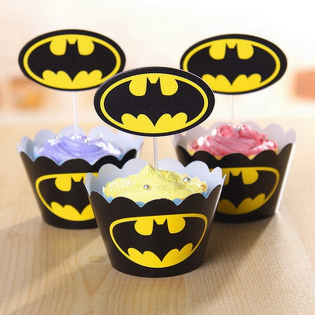 Birthday Cake Topper Decorating The Avengers Party Decoration Batman Baby Kids Paper Cupcake Wrappers