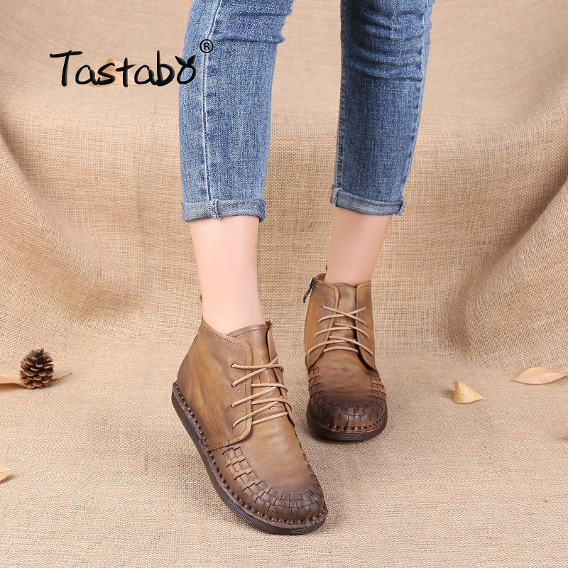 Tastabo Martin Boots Leather Shoe Weave Lace-Up Handmade Original Retro Round Flat Boots Female Leisure Women Ankle Boots Blac 2017 embellished sweety girl love pink peach women martin boots short shoe ankle lace up crystal sequins flat round toe shoe