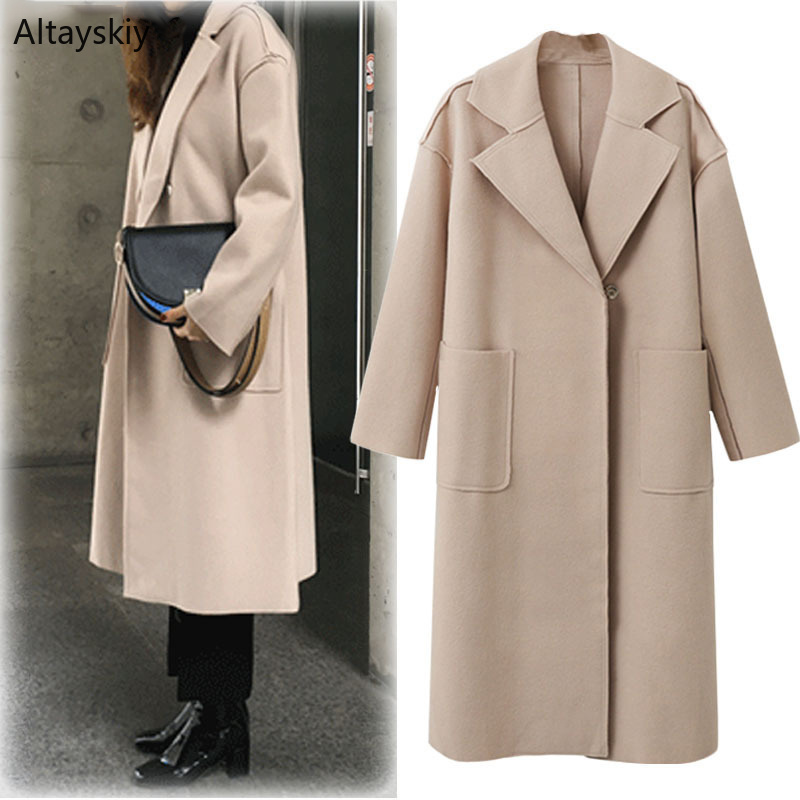 Trench   Women Single Button Solid Simple Soft European High Quality Trendy Pockets Womens All-match Long Sleeved Elegant Ladies