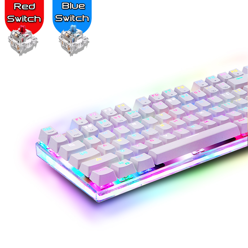 Russian/English Motospeed K87S Gaming Mechanical Keyboard LED Anti-ghosting 87 Keys RGB Backlight USB Wired Keyboard For Gamers