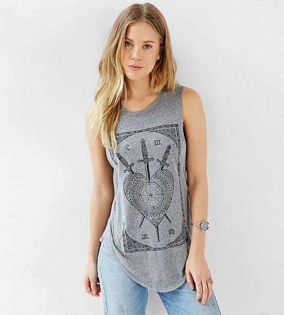 60f24ff86ffd9 New 2019 summer style women s t shirt sword print sleeveless T-shirts  female t-shirt women tops tees t shirts G1186