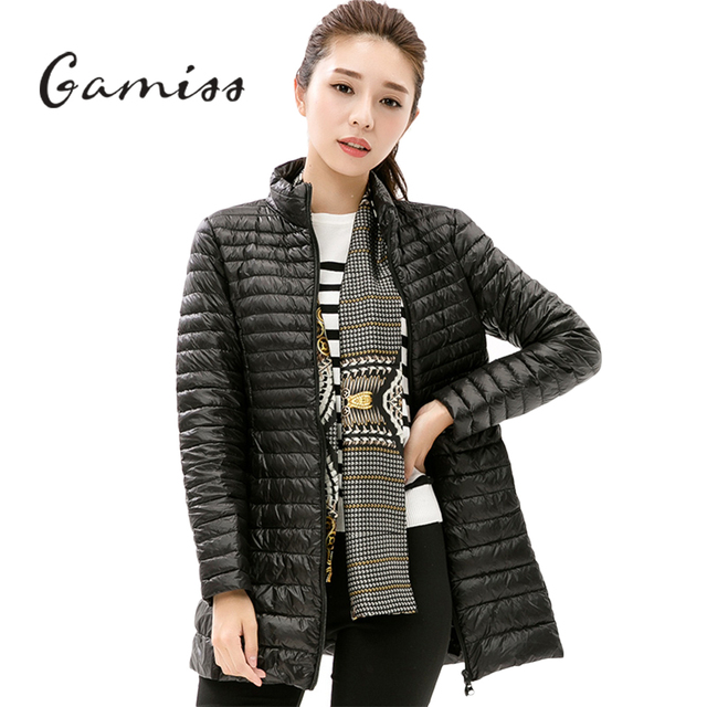 ee059a191759a Gamiss Women 90% White Duck Coat Jacket Long Over Knee Parka Single Breasted  Zipper Pockets 8 Colors Solid Female Outerwear-in Parkas from Women s  Clothing ...