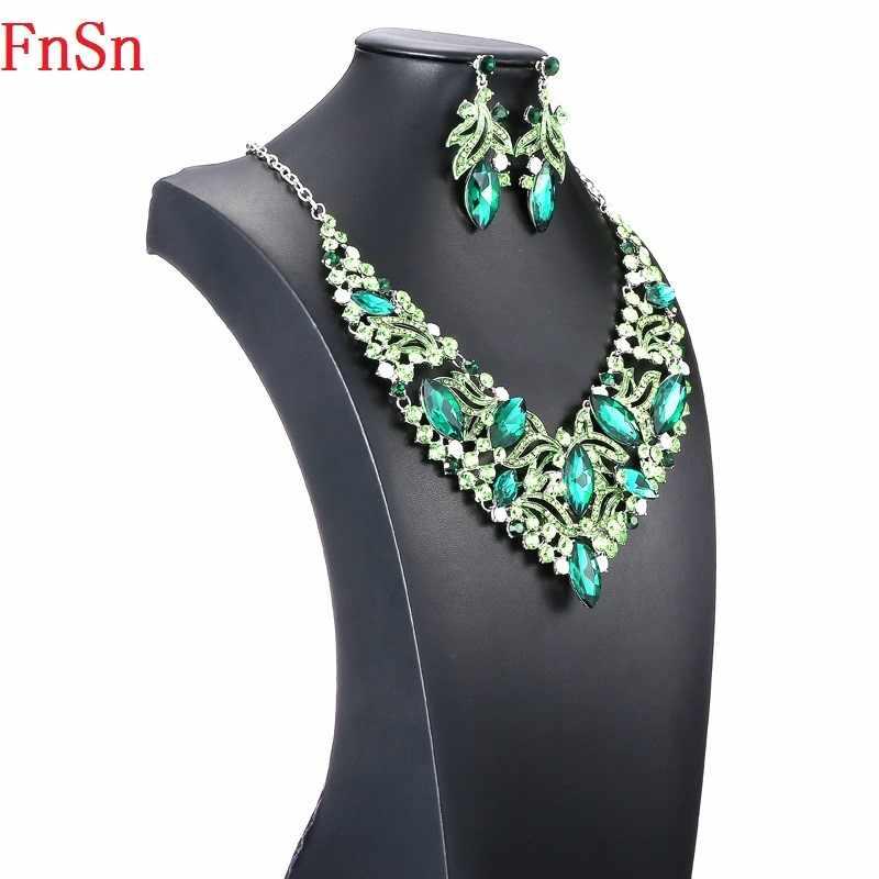 Fnsn חם חדש סטי תכשיטי אופנה קריסטל לולאות שרשרת סט צבעוני ריינסטון חתונה מתנה לנשים כלות נשף מסיבת S167