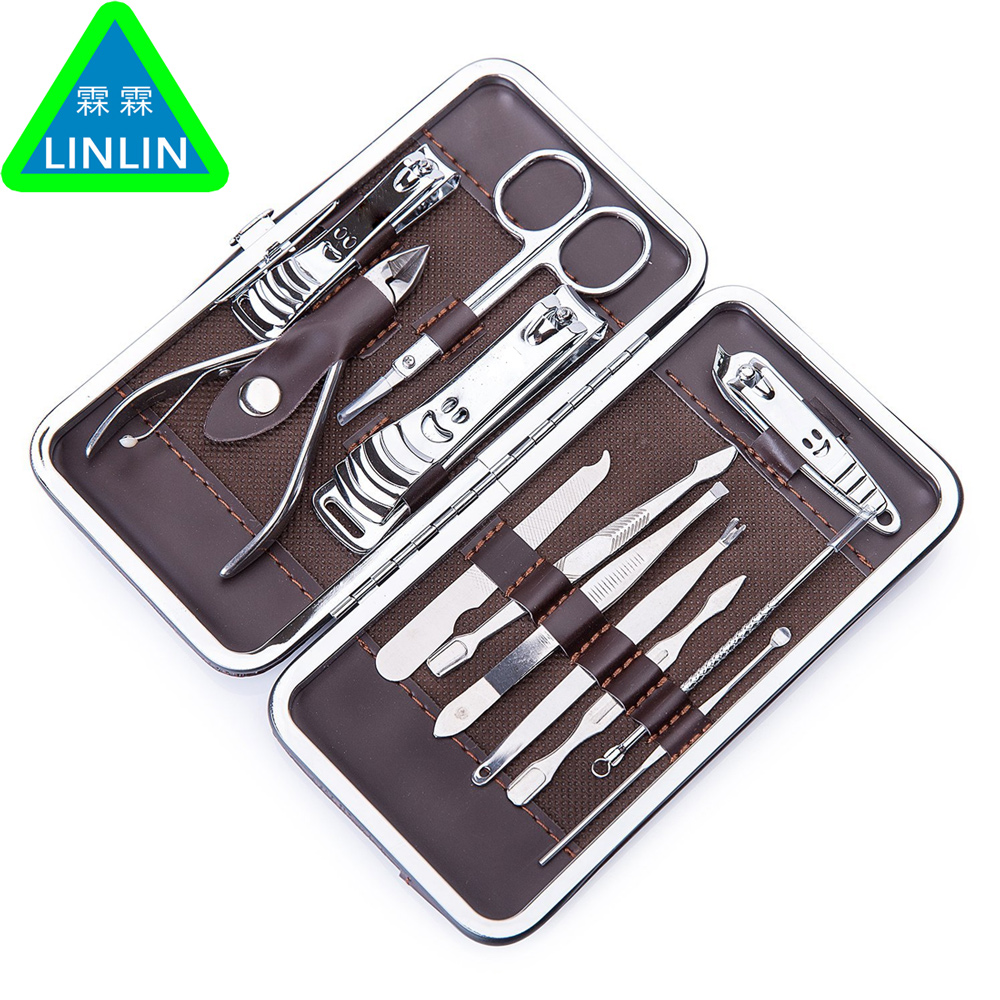 LINLIN 12 Pcs Stainless Nail Kit Nail Clipper Nipper Cutter Scissors Tweezers Ear Pick Pedicure Manicure Set Nail Art Tools