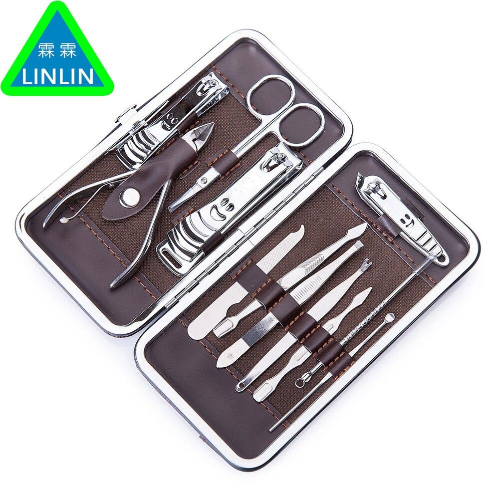 LINLIN 12 Pcs Inoxydable Nail Kit Nail Clipper Nipper Cutter Ciseaux Pincettes Oreille Choisissez Pédicure Manucure Set Nail Art Outils