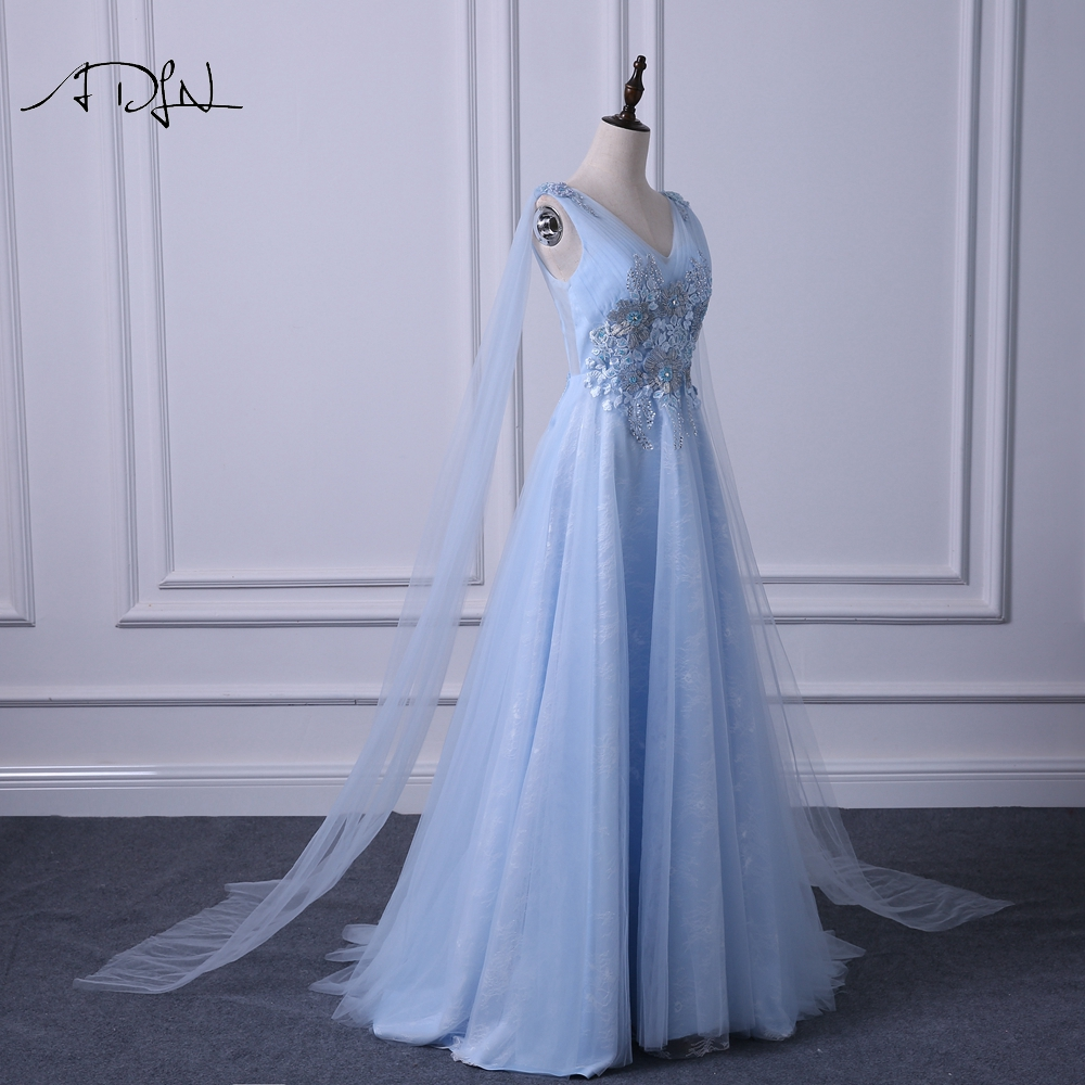 ADLN Elegant V neck Evening Dresses Long Fashionable Blue Prom Gown Dress with Watteau Train A line Formal Wedding Party Dress - 5