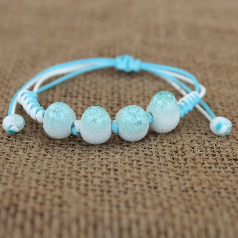 New fashion Diy Ethic Handcrafted Chinese National Style Beads Bracelets Ceramic Charm Bracelet  For Women Gifts Jewelry E0229
