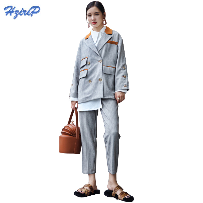 HziriP Two Piece OL Suit Lady Elegant Blazer Jacket Pants 2017 Fall Irregular Pockets Double-breasted Office Uniform Women Suits ...