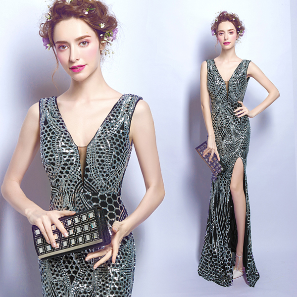 Silver black luxury sequins sexy split V - neck mermaid evening dress prom dress party dress Noble and luxurious
