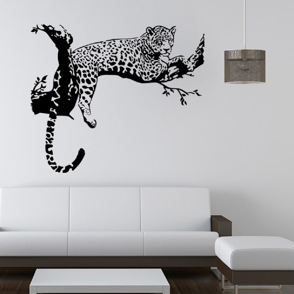 large leopard tiger tree vinilo removible etiqueta de la pared home decaration animal decoracin de la