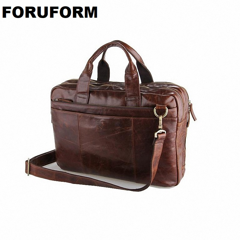 Classic Vintage genuine leather Men's Briefcase Laptop Bag High Quality men Messenger Bag handbag business Shoulder Bag LI-826 vintage genuine leather men briefcase bag business men s laptop notebook high quality crazy horse leather handbag shoulder bags